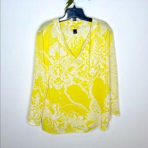 St. John's SoCa Floral Print Silk Popover Tunic